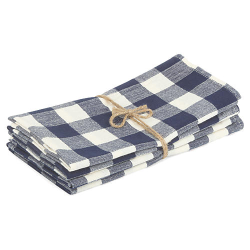 S/4 Gingham Napkins, Blue