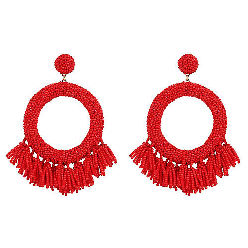 Shoshana Earrings, Red