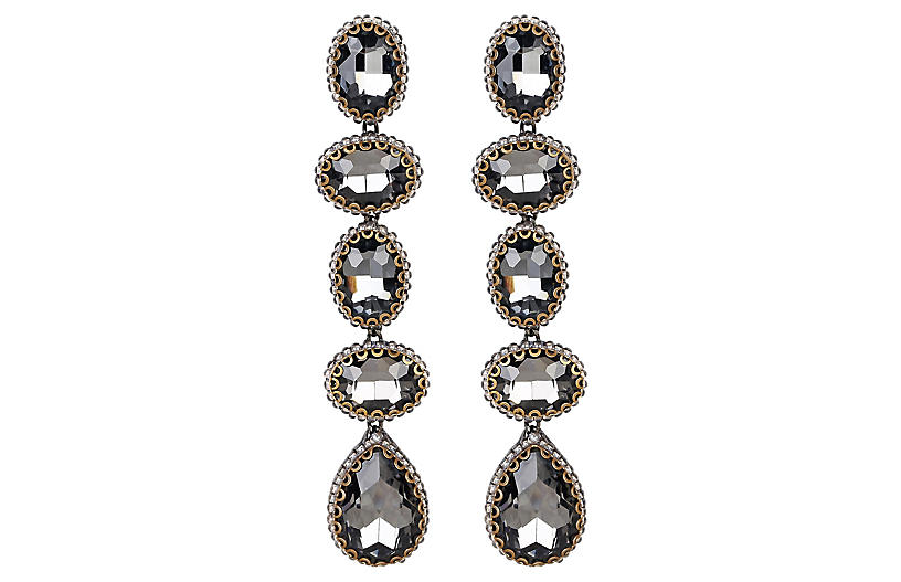 Deepa by Deepa Gurnani Tyra Earrings, Gunmetal