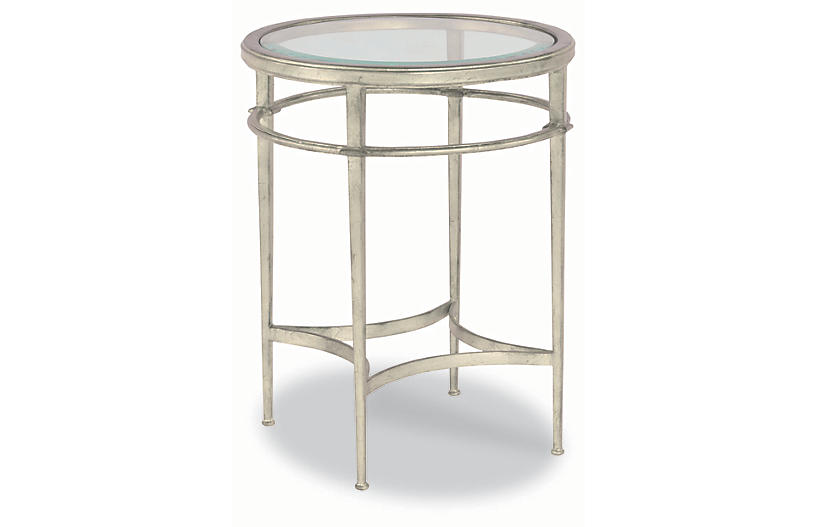 Vienne Round Side Table, Silver Leaf