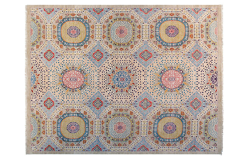 8'x10' Sari Mamluk Hand-Knotted Rug, Ivory/Sky