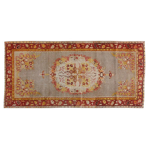 3'x5' Turkish Oushak Hand-Knotted Rug, Red/Gold