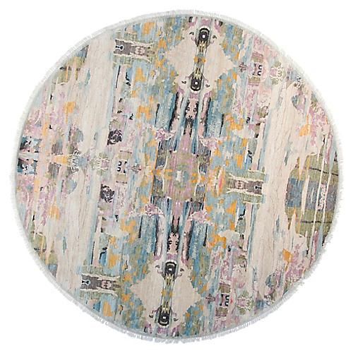 8' Sari Graphic Round Rug, Aqua/Multi