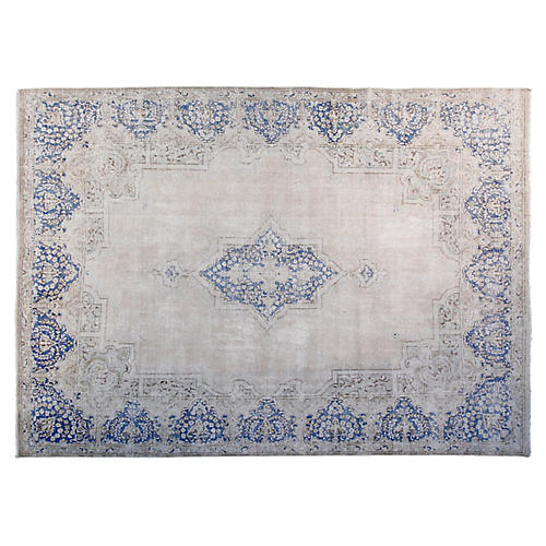 "8'6""x11'6"" Bella Hand-Knotted Rug, Ivory/Blue"