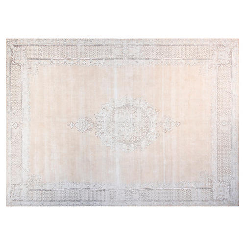 "9'6""x12'6"" Avery Hand-Knotted Rug, Beige/Sky"