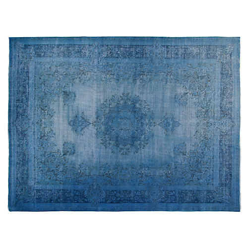 "9'6""x12'6"" Cole Hand-Knotted Rug, Blue"