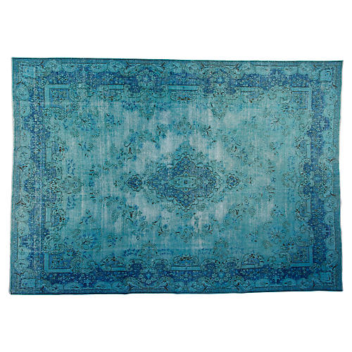 "9'6""x12'6"" Valley Hand-Knotted Rug, Aqua"