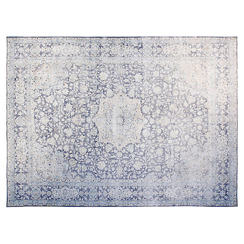 """9'6""""x12'6"""" Jam Hand-Knotted Rug, Blue"""