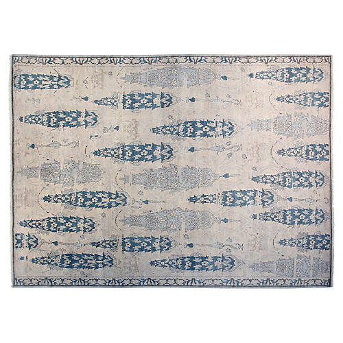 9'x12' Jones Hand-Knotted Rug, Ivory/Green-Blue