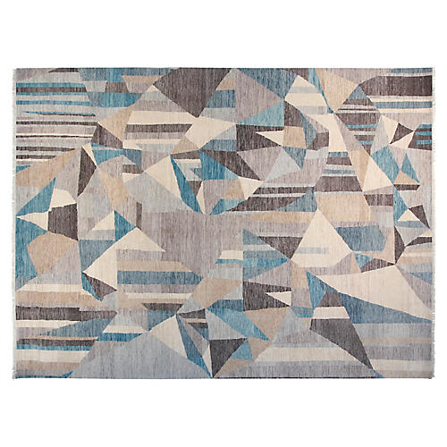 9'x12' Graphic Hand-Knotted Rug, Gray/Aqua