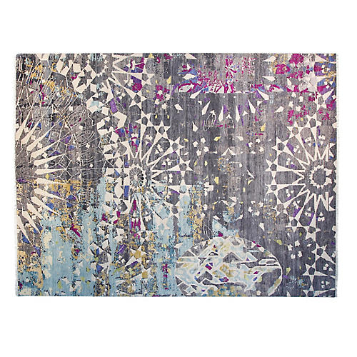 9'x12' Sari Adele Hand-Knotted Rug, Charcoal/Multi