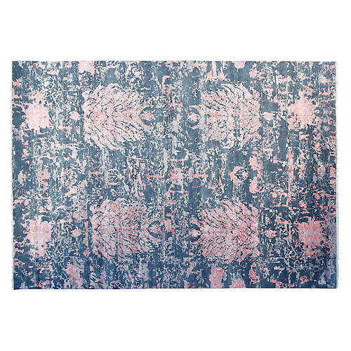 9'x12' Sari Rojas Hand-Knotted Rug, Green/Coral