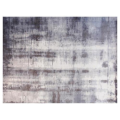 9'x12' Kiko Hand-Knotted Rug, White/Gray