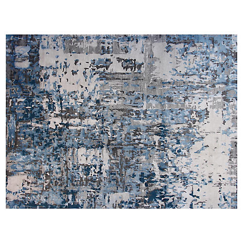 9'x12' Monika Hand-Knotted Rug, Gray/Teal
