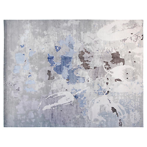 9'x12' Janel Hand-Knotted Rug, Taupe/Blue