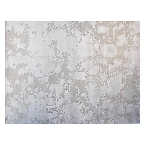 9'x12' Tanya Hand-Knotted Rug, Taupe/Silver