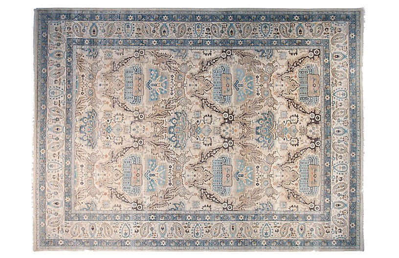 10'x14' Oushak Hand-Knotted Rug, Ivory/Pale Blue