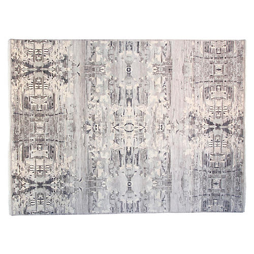 10'x14' Graphic Hand-Knotted Rug, Gray/Dove