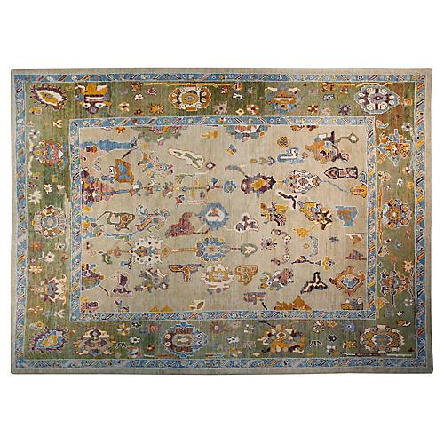 10'x13' Turkish Oushak Rug, Ivory/Green