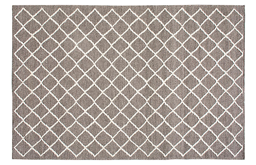 Bairre Hand-Knotted Rug, Umber/White