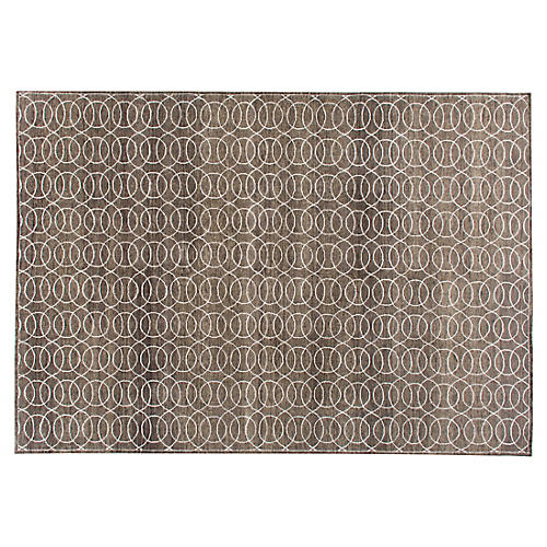 Pradip Hand-Knotted Rug, Taupe/White
