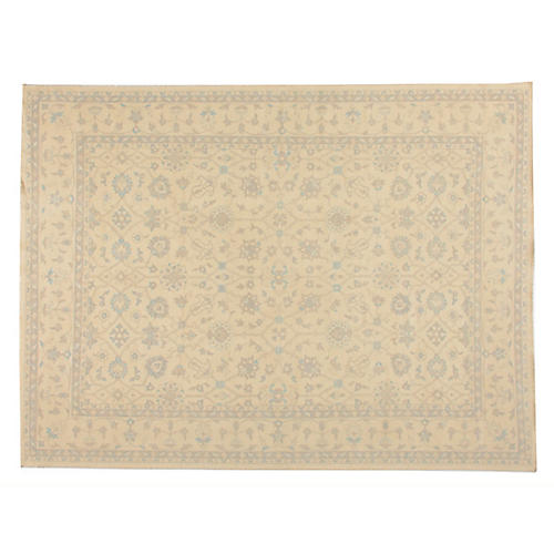 "9'2""x12'2"" Danai Hand-Knotted Rug, Beige/Blue"