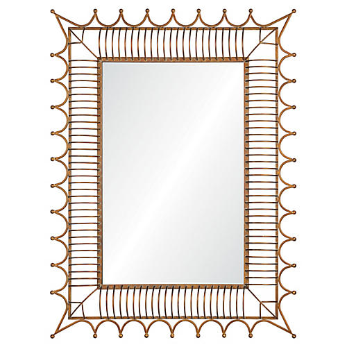 Rex Wall Mirror, Antiqued Iron Gold