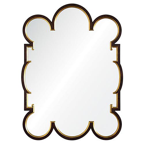 Charles Wall Mirror, Dark Burl/Distressed Gold