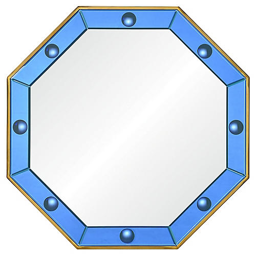 Octavia Wall Mirror, Blue/Polished Brass