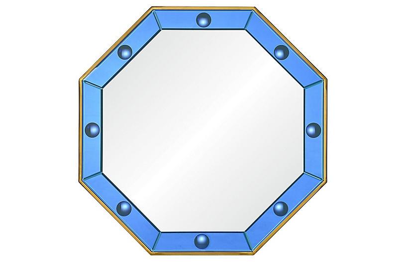 Octavia Wall Mirror, Blue/Polished Brass