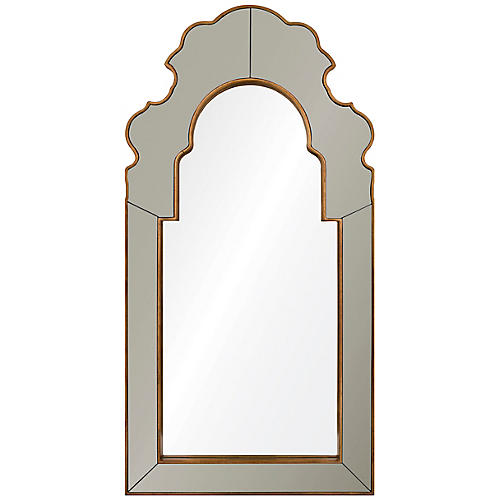 Speckle Oversize Wall Mirror, Moonstone/Gold