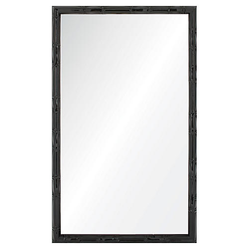 Bambu Wall Mirror, Black Lacquer