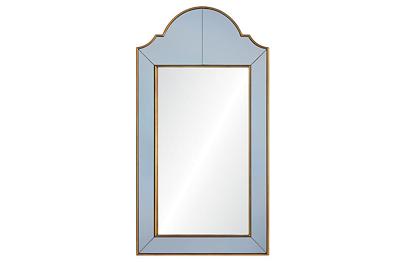 Queen Anne Wall Mirror, Gray/Gold
