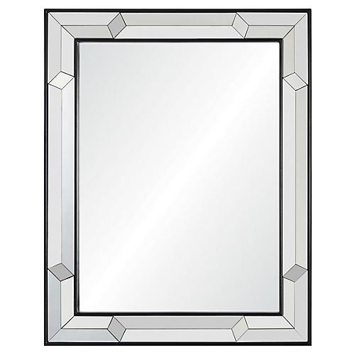 Venetian Wall Mirror, Ebony/Mirrored