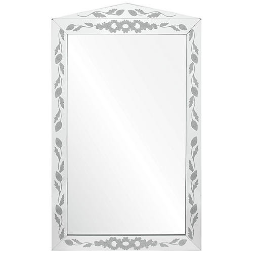 Etched Floral Wall Mirror, Mirrored