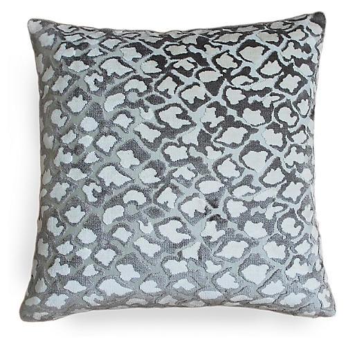 Kendrick 22x22 Pillow, Gray/Beige Velvet