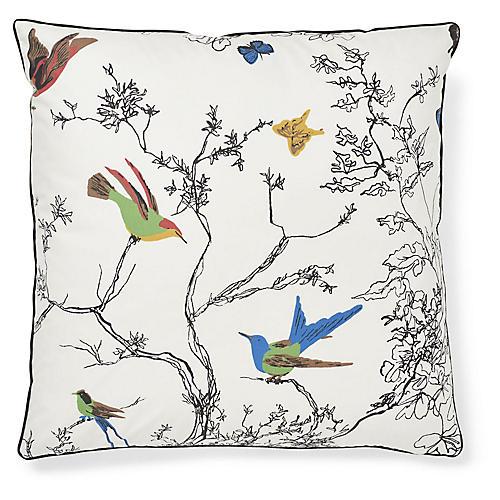 Birds & Butterflies 20x20 Pillow, White/Multi
