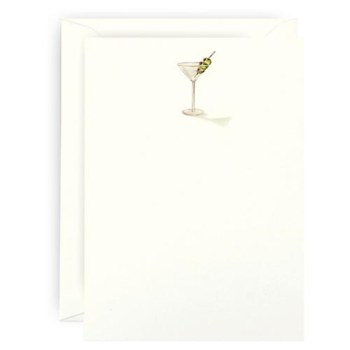 S/6 Martini Note Cards