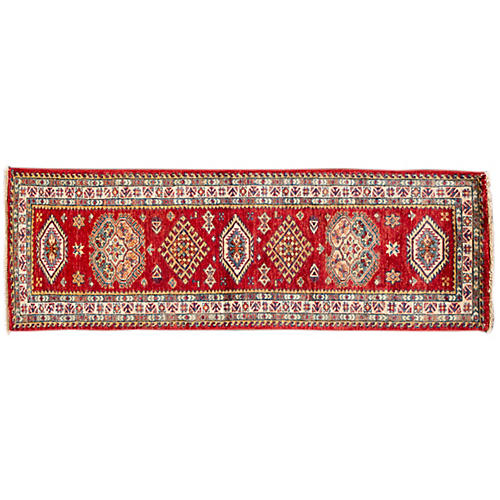 "2'x5'10"" Shashi Hand-Knotted Runner, Red"