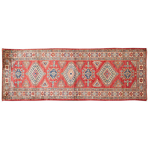 "2'8""x7'8"" Musa Hand-Knotted Runner, Red"