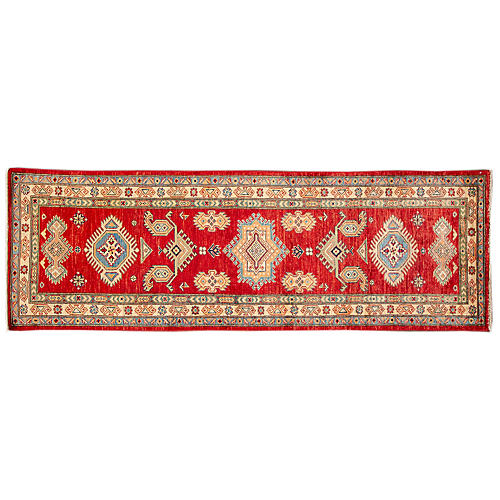 "2'8""x8' Udi Hand-Knotted Runner, Red"