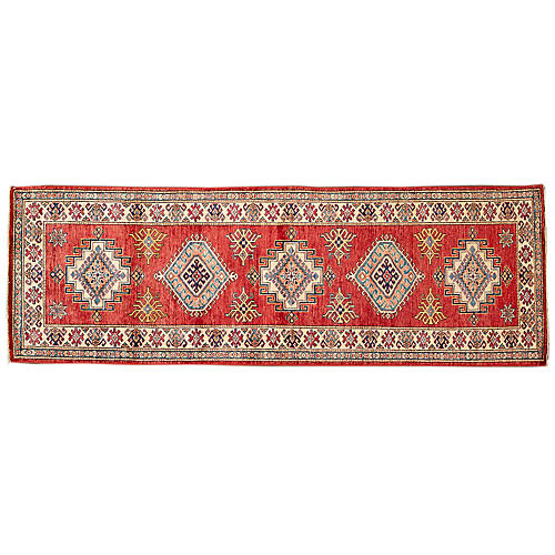 "2'8""x8'1"" Buhle Hand-Knotted Runner, Red"