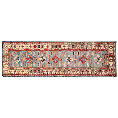 "2'8""x8'7"" Tirto Hand-Knotted Runner, Light Blue"