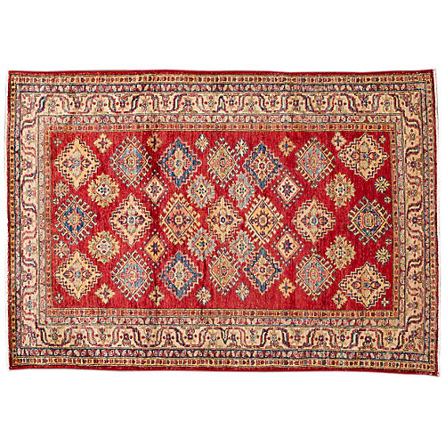 "4'x5'9"" Saar Hand-Knotted Rug, Red"
