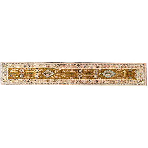 "2'5""x15'8"" Yann Hand-Knotted Runner, Gold/Pink"
