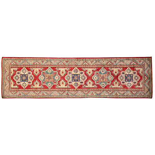 "2'8""x10' Adina Hand-Knotted Runner, Red"
