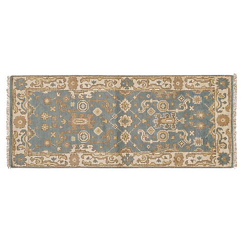 "2'6""x6' Cal Hand-Knotted Runner, Blue"
