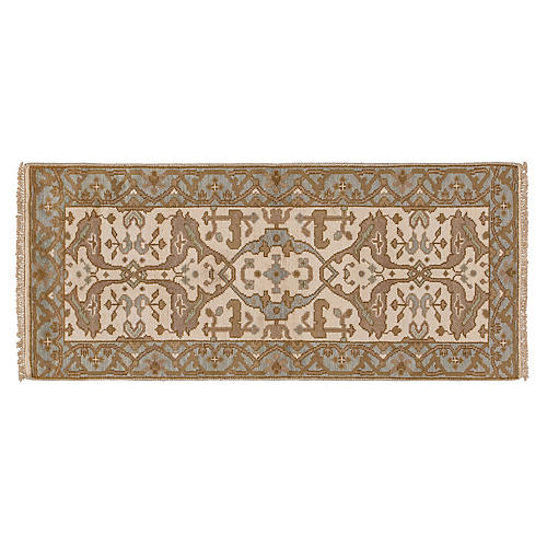 "2'7""x6' Anup Hand-Knotted Runner, Ivory"