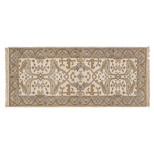 "2'7""x6' Lela Hand-Knotted Runner, Ivory"