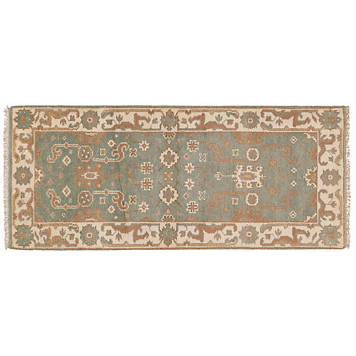 "2'7""x6'2"" Rifat Hand-Knotted Runner, Green"